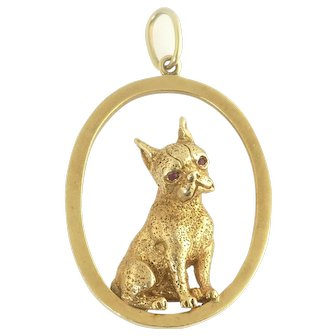 Vintage Ruser Boston Terrier Dog Pendant in 14k Gold with Rubies - Designer Signed
