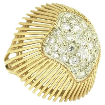Dynamic Mid Century Diamond Bombe Ring in 18k Gold