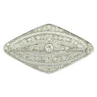 Art Deco Orientalist Diamond Filigree Brooch in Platinum