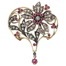 Antique Art Nouveau Rose Cut Diamond and Ruby Flower Pendant in Silver Topped 18k Gold