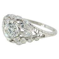 Vintage Art Deco Old European Cut Diamond Platinum Engagement Wedding Ring