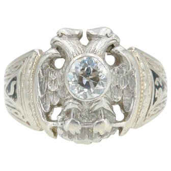 Vintage Art Deco Masonic Ring with Double Headed Eagle and Old European Cut Diamond in 14k White Gold
