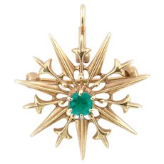 Oh So Pretty Victorian Emerald-Set Star Pendant/Brooch in 14k