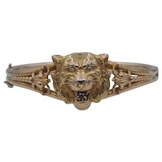 Alling and Co Antique Figural Wildcat Lion Tiger Bracelet in 14k Gold with Diamonds and Garnet - Newark