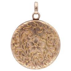 Antique Floral Engraved Locket in 14k Gold