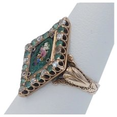 Antique Victorian Floral Micro Mosaic with Rose Cut Diamonds and Emeralds in 10k Gold