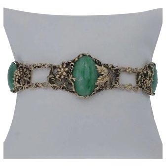 Vintage Mottled Jade Grapevine Motif Bracelet in 14k Gold