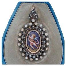 Antique Enamel Putti Cherub Pendant Locket in Silver and Pearls in Original Box - Vienna Austria