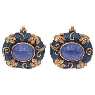 Beautiful Elizabeth Gage Estate Tanzanite and Blue Enamel Clip Earrings in 18k