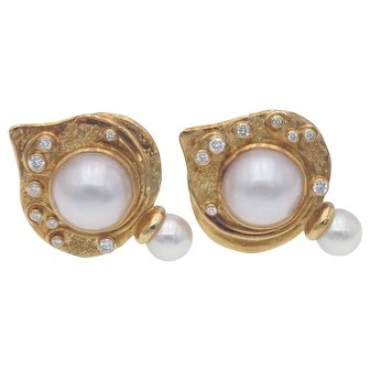 Unusual Elizabeth Gage Estate Mabe and Saltwater Pearl and Diamond Clip Earrings in 18k