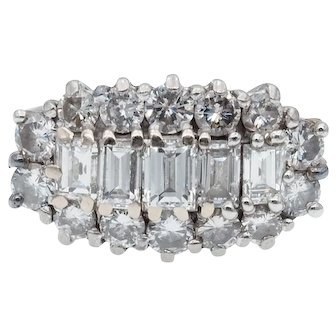 Fine Quality Vintage English Diamond Cocktail Ring in 18k White Gold