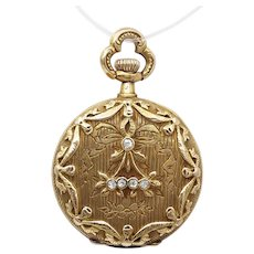 Antique Edwardian Pocket Watch Pendant in 14k Gold with Diamonds