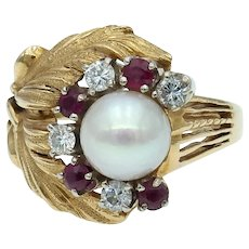 Vintage Mid-Century Diamond Ruby Pearl Ring in 18k Gold