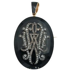 Antique Victorian 18k Gold and Onyx Mourning Pendant Brooch Locket with Diamond Monogram and Hairwork