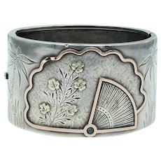 Antique Victorian Aesthetic Silver Mixed Metal Bangle Bracelet