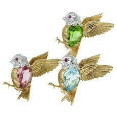 E Wolfe and Co - Trio of Birds in Flight with Aquamarine Peridot Tourmaline Diamonds and Rubies in 18k Gold