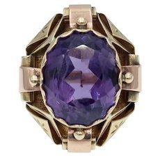 Remarkable Amethyst French Retro Bi-Colored Gold Ring in 18k Gold