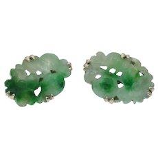 Vintage Carved Jade Earrings in 14k Gold