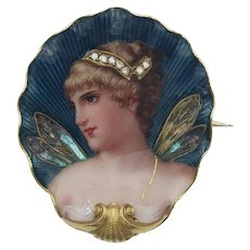 Antique Art Nouveau Psyche Goddess Portrait Miniature Brooch in Enamel Diamond and 18k Gold