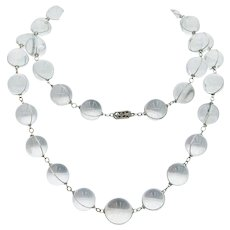 Glorious Long Vintage Rock Crystal Pools-of-Light Necklace in Silver