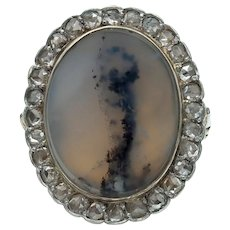 Antique Dendritic Agate Rose Cut Diamond Halo Ring in Platinum Topped 14k Gold
