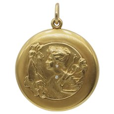 Grand Scale Antique Art Nouveau Locket in 14k Gold Bloomed Gold with Diamonds - Circa 1902