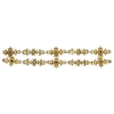 Exquisite Antique Chain Necklace in 18k Gold with Gemstones