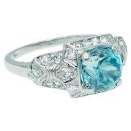 Vintage Art Deco Blue Zircon and Diamond Ring in Platinum