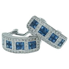 Gorgeous Estate Princess Cut Sapphire and Diamond Half Hoop Earrings in 18k White Gold