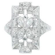 Art Deco Marquise Diamond Flower Plaque Ring in Platinum