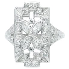 Art Deco Marquise Diamond Flower Plaque Ring in Platinum