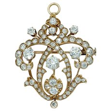 Antique European Cut Diamond Pendant Brooch in 14k Gold