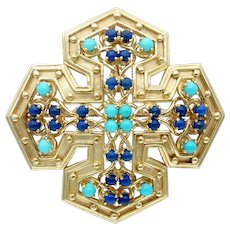 Vintage Tiffany Mid Century Turquoise and Lapis Lazuli Maltese Cross Pendant Brooch in 18k Gold
