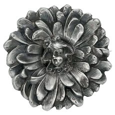 Unger Brothers Antique Art Nouveau Flower Maiden Brooch in Sterling Silver