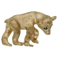 Adorable Estate Bear Cub Brooch in 14k Gold with Blue Sapphire Eyes
