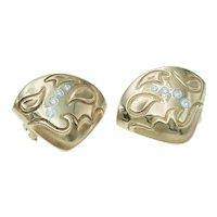 Michael Bondanza Vintage 18k Gold Platinum and Diamond Paisley Earrings