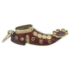 Vintage 18k Gold and Red Enamel Shoe Charm Pendant