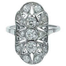 Delightful Art Deco Old European Cut Diamond Plaque Ring in Platinum