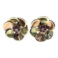 Delightful Retro Ruby Diamond and Tri-Colored Pierced Earrings in 14k