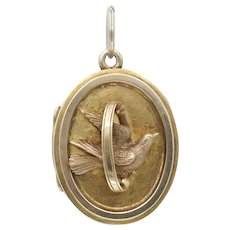 Antique Victorian Betrothal Wedding Locket with Dove and Wedding Ring in 14k Gold