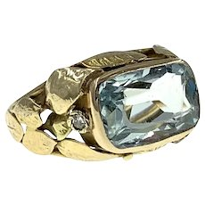 Distinctive Arts and Crafts Aquamarine and Diamond Ring in 14k Gold