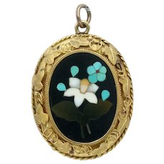 Antique Victorian Pietra Dura Flower Pendant in 18k Gold Grapevine Motif Mounting