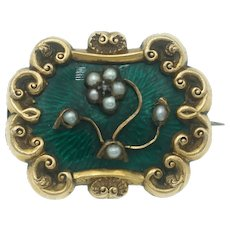 Antique Green Enamel and Seed Pearl Locket Brooch in 14k Gold