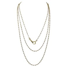 Antique 18k Gold Long Chain Necklace - 63.5 Inches - 30.8 Grams