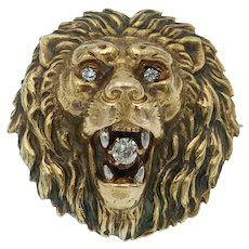 Magnificent Antique Victorian Lion Brooch in 14k Gold with Diamonds