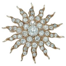 Stellar Antique Edwardian Diamond Starburst Sunburst Pendant Brooch in 14k Yellow Gold