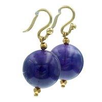 Estate Amethyst Orb Ball Earrings in 18k Gold