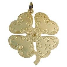 Large Vintage Engraved Shamrock Four Leaf Clover Pendant Charm in 14k Gold