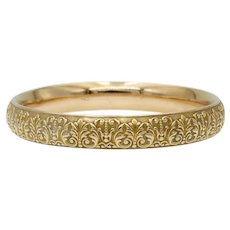 Krementz Antique Art Nouveau Floral Repousse Bangle Bracelet in 14k Gold