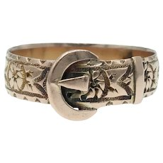 Antique English Buckle Ring with Flowers in 9k Gold - Birmingham